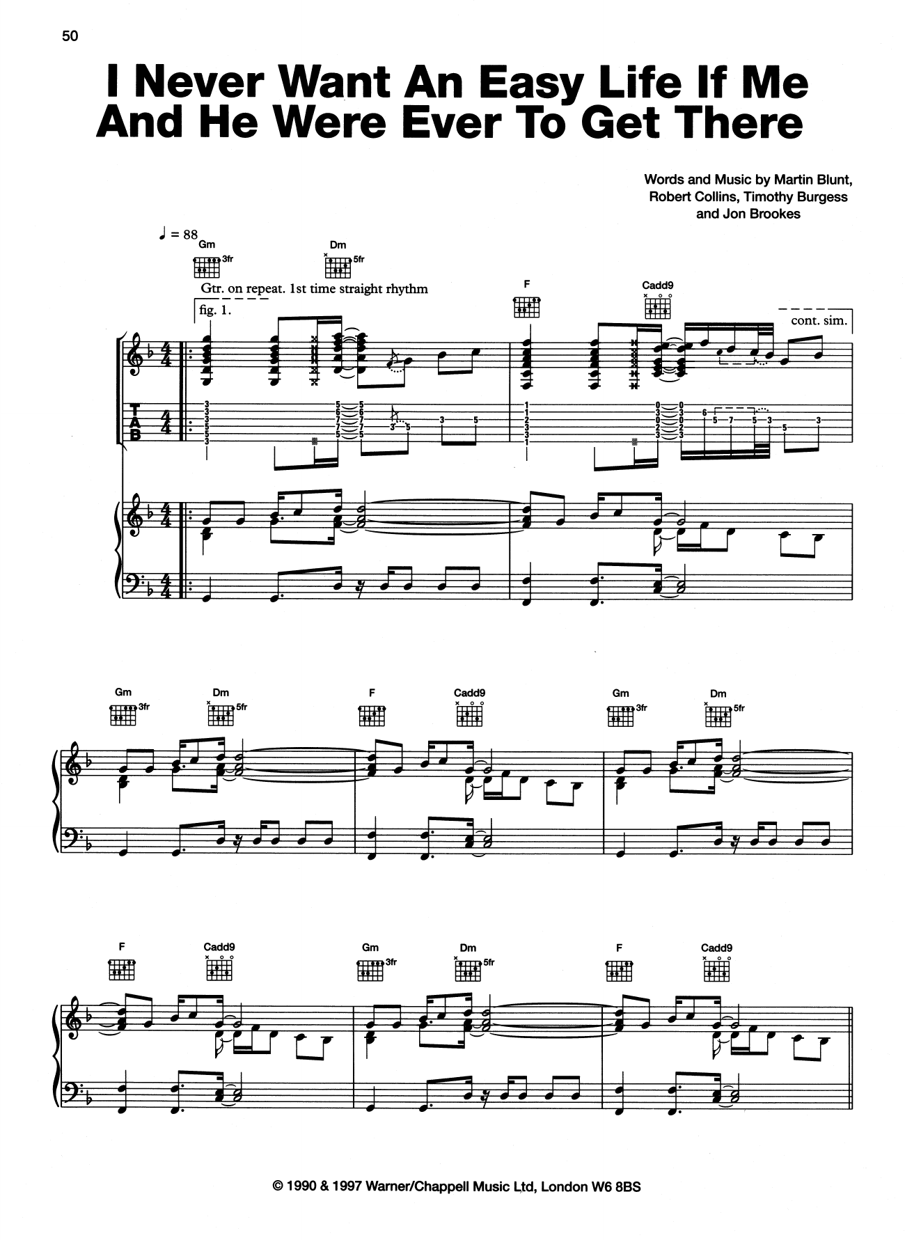 The Charlatans I Never Want An Easy Life If Me And He Were Ever To Get There sheet music notes and chords. Download Printable PDF.