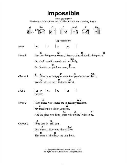 The Charlatans Impossible sheet music notes and chords. Download Printable PDF.