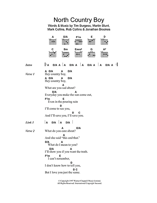 The Charlatans North Country Boy sheet music notes and chords. Download Printable PDF.
