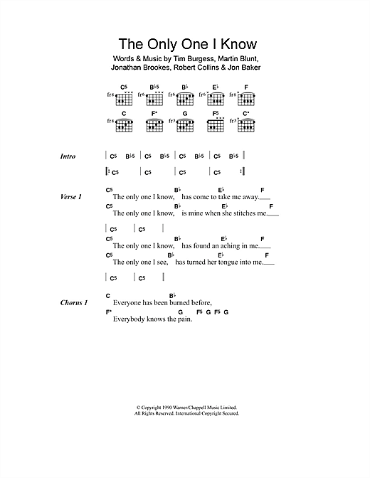The Charlatans The Only One I Know sheet music notes and chords. Download Printable PDF.