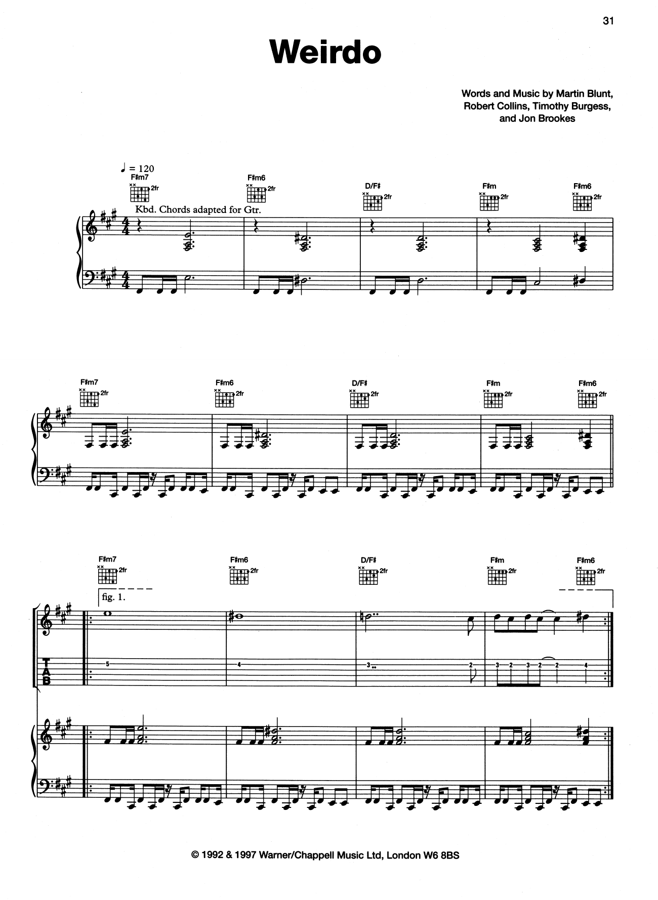 The Charlatans Weirdo sheet music notes and chords. Download Printable PDF.