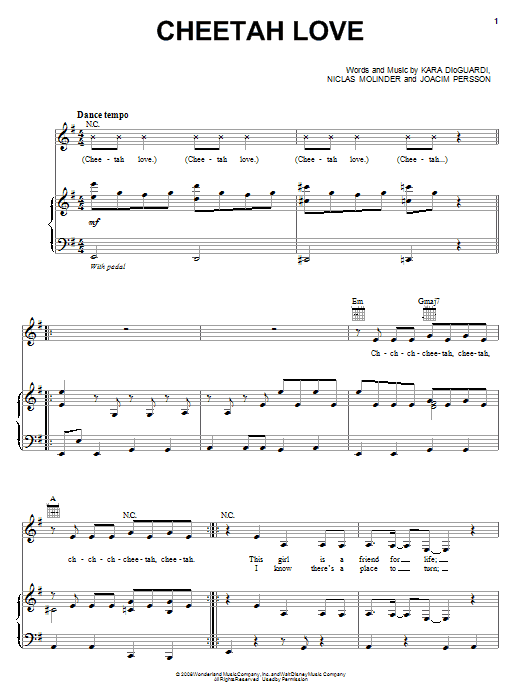 The Cheetah Girls Cheetah Love sheet music notes and chords. Download Printable PDF.
