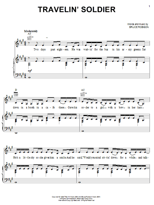 Dixie Chicks Travelin' Soldier sheet music notes and chords. Download Printable PDF.