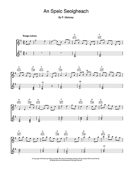 The Chieftains An Speic Seoigheach sheet music notes and chords. Download Printable PDF.