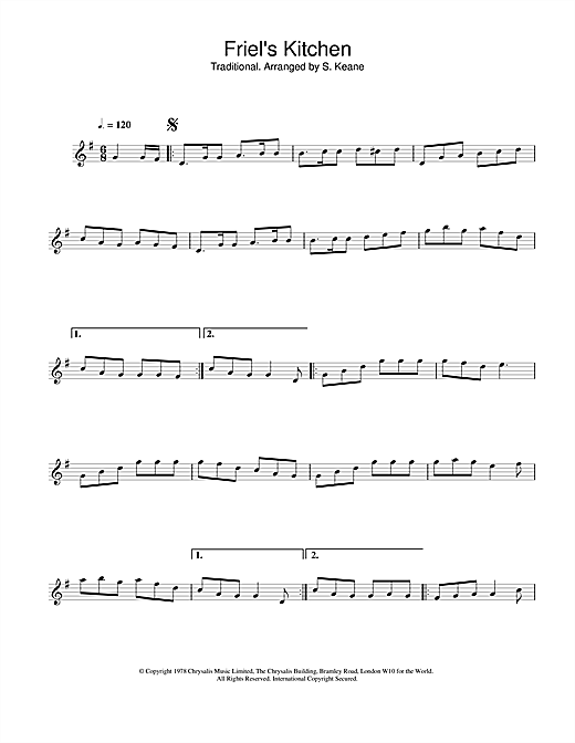The Chieftains Friel's Kitchen sheet music notes and chords