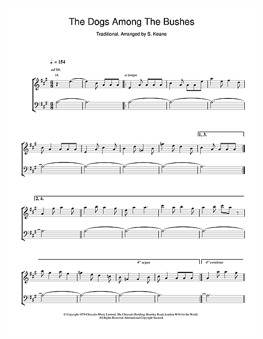 The Chieftains The Dogs Among The Bushes sheet music notes and chords. Download Printable PDF.