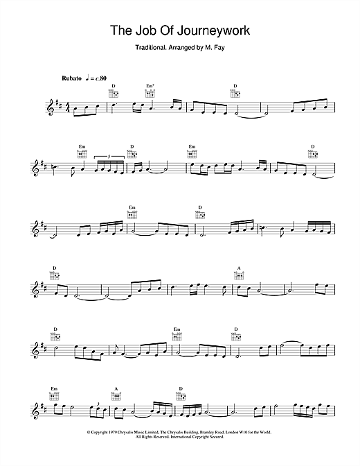 The Chieftains The Job Of Journeywork sheet music notes and chords. Download Printable PDF.