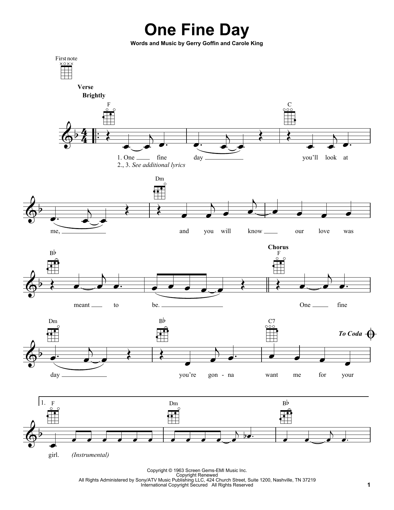 The Chiffons One Fine Day sheet music notes and chords. Download Printable PDF.