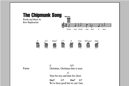 The Chipmunks The Chipmunk Song sheet music notes and chords. Download Printable PDF.