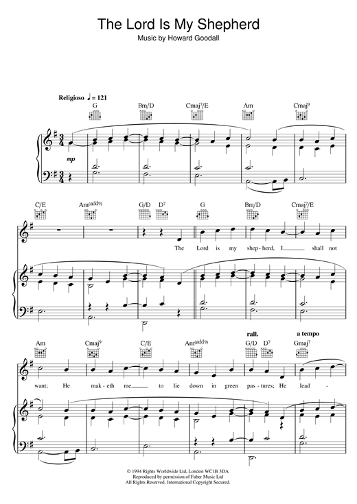 The Choirboys Psalm 23 The Lord Is My Shepherd Theme From The Vicar Of Dibley Sheet Music Pdf Notes Chords Classical Score Piano Vocal Guitar Right Hand Melody Download Printable