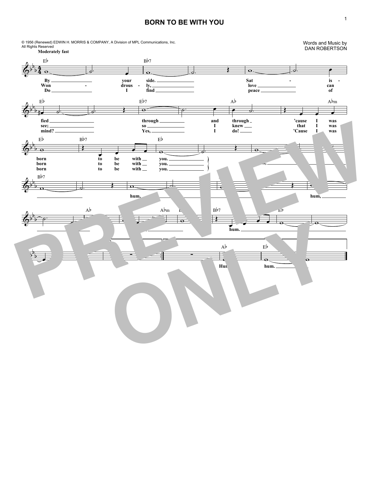 The Chordettes Born To Be With You sheet music notes and chords. Download Printable PDF.