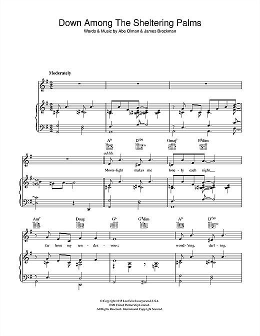 The Chordettes Down Among The Sheltering Palms sheet music notes and chords. Download Printable PDF.