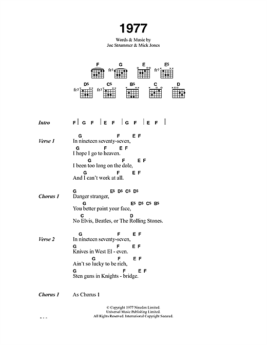 The Clash 1977 sheet music notes and chords. Download Printable PDF.