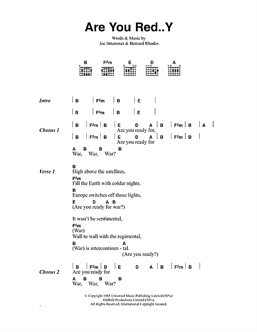 The Clash Are You Red..Y sheet music notes and chords. Download Printable PDF.