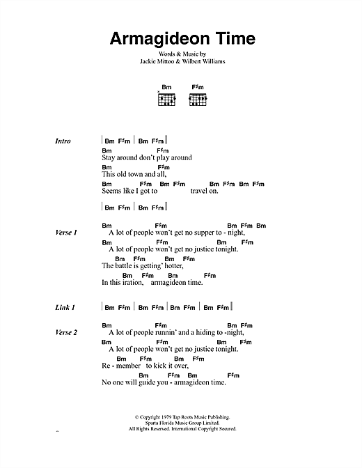 The Clash Armagideon Time sheet music notes and chords. Download Printable PDF.