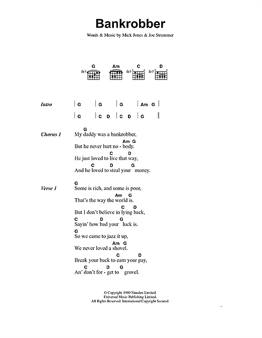 The Clash Bankrobber sheet music notes and chords. Download Printable PDF.