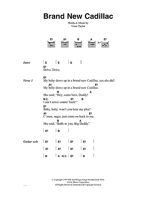 The Clash Brand New Cadillac sheet music notes and chords