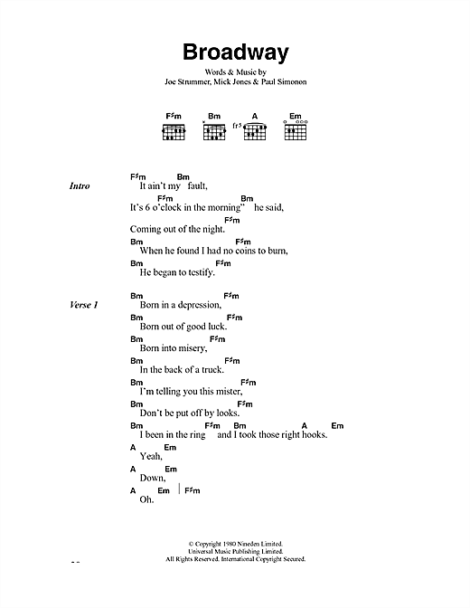 The Clash Broadway sheet music notes and chords. Download Printable PDF.
