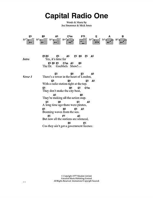 The Clash Capital Radio One sheet music notes and chords