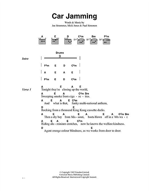 The Clash Car Jamming sheet music notes and chords