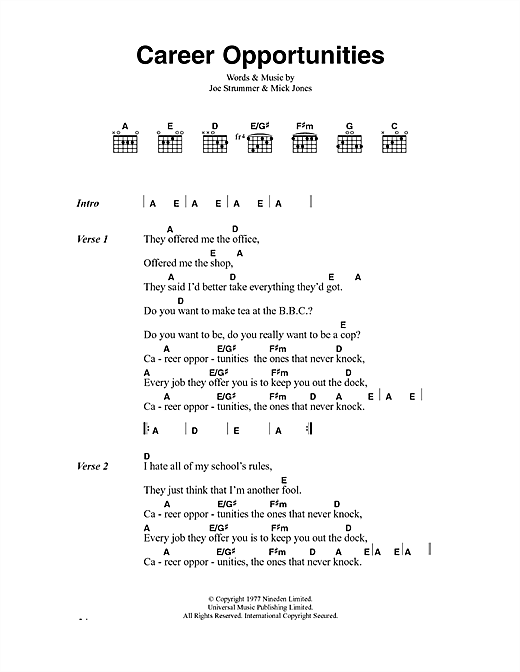 The Clash Career Opportunities sheet music notes and chords. Download Printable PDF.