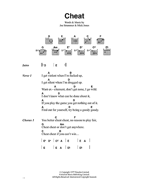 The Clash Cheat sheet music notes and chords