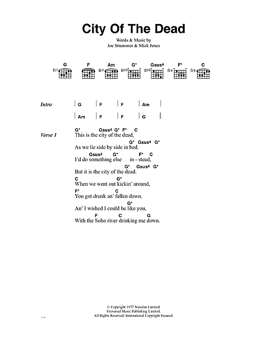 The Clash City Of The Dead sheet music notes and chords. Download Printable PDF.
