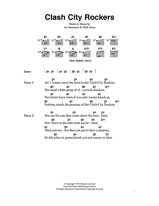 The Clash Clash City Rockers sheet music notes and chords. Download Printable PDF.