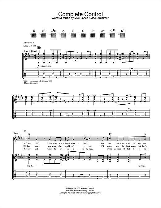 The Clash Complete Control sheet music notes and chords