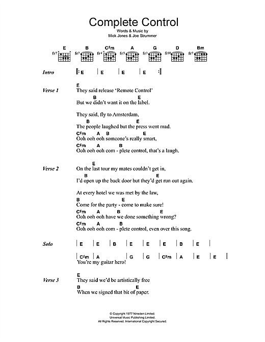 The Clash Complete Control sheet music notes and chords. Download Printable PDF.