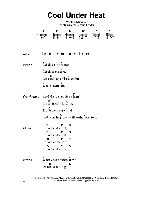 The Clash Cool Under Heat sheet music notes and chords. Download Printable PDF.