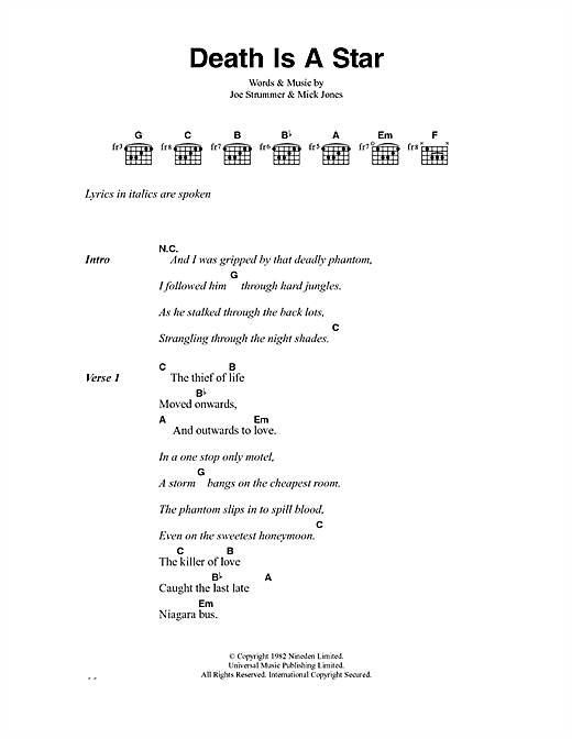 The Clash Death Is A Star sheet music notes and chords