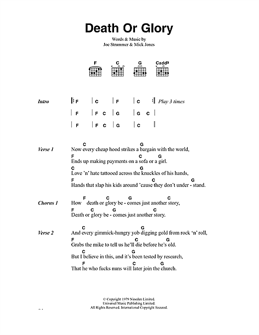 The Clash Death Or Glory sheet music notes and chords. Download Printable PDF.