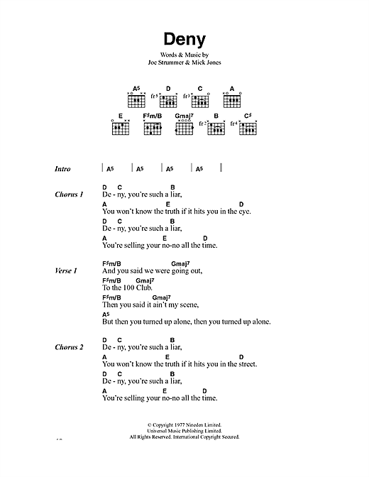 The Clash Deny sheet music notes and chords