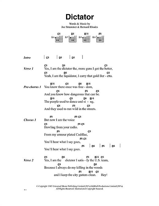 The Clash Dictator sheet music notes and chords. Download Printable PDF.