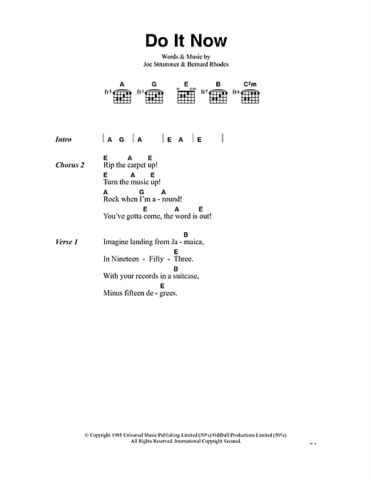 The Clash Do It Now sheet music notes and chords