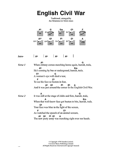 The Clash English Civil War sheet music notes and chords. Download Printable PDF.