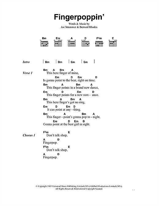 The Clash Fingerpoppin' sheet music notes and chords. Download Printable PDF.