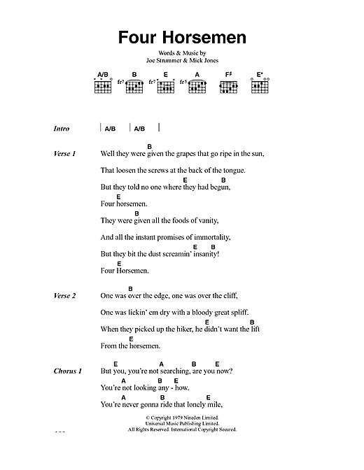 The Clash Four Horsemen sheet music notes and chords. Download Printable PDF.