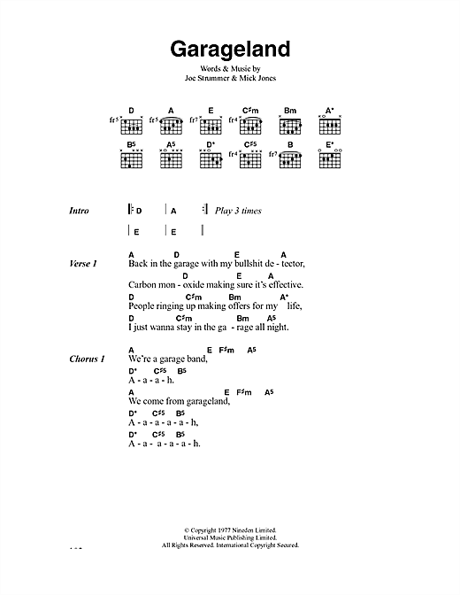 The Clash Garageland sheet music notes and chords. Download Printable PDF.