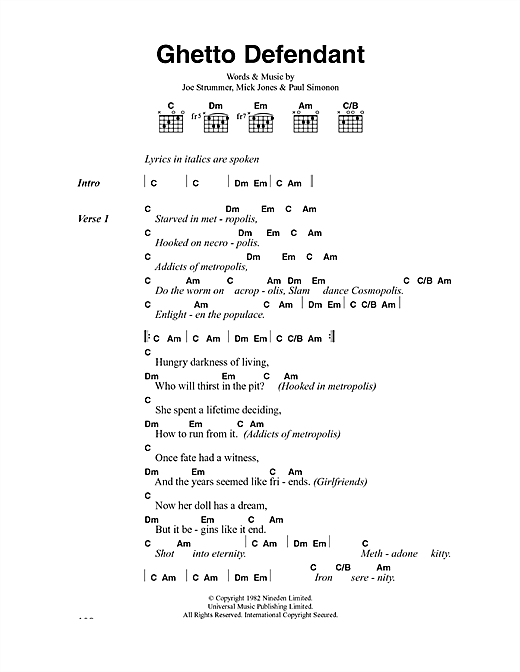 The Clash Ghetto Defendant sheet music notes and chords. Download Printable PDF.
