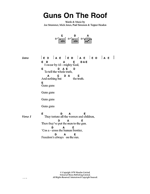 The Clash Guns On The Roof sheet music notes and chords