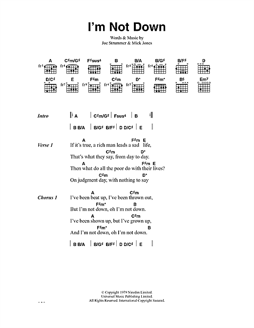 The Clash I'm Not Down sheet music notes and chords. Download Printable PDF.