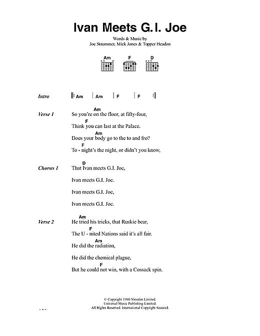 The Clash Ivan Meets G.I. Joe sheet music notes and chords