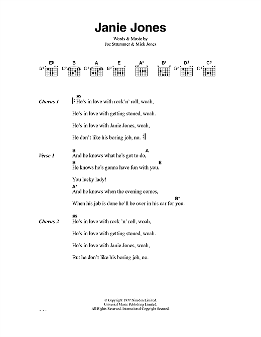 The Clash Janie Jones sheet music notes and chords. Download Printable PDF.