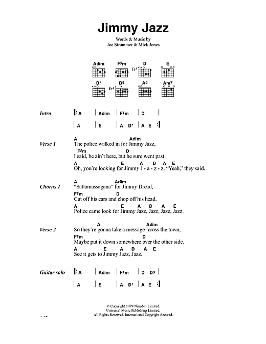 The Clash Jimmy Jazz sheet music notes and chords