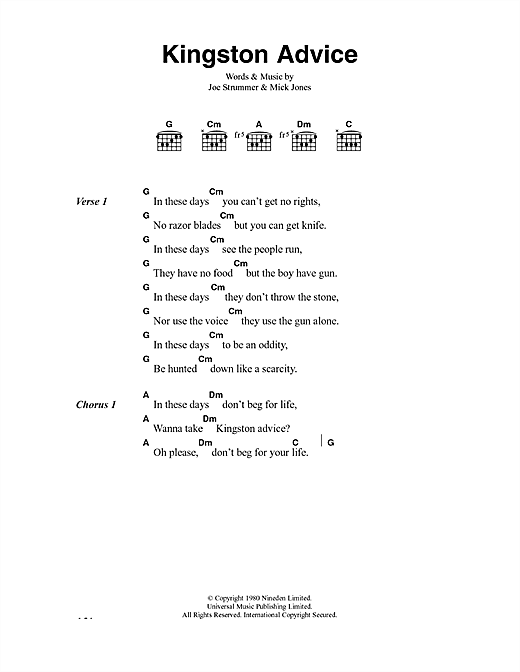 The Clash Kingston Advice sheet music notes and chords. Download Printable PDF.