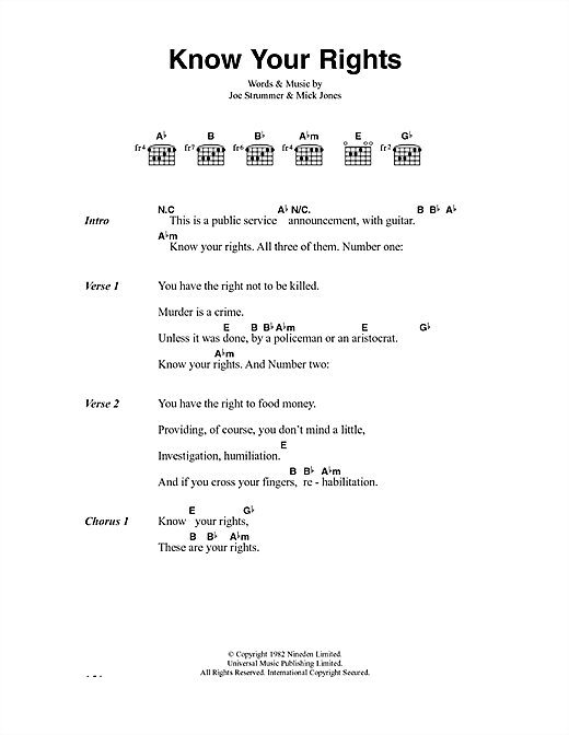 The Clash Know Your Rights sheet music notes and chords. Download Printable PDF.