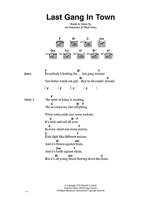 The Clash Last Gang In Town sheet music notes and chords. Download Printable PDF.