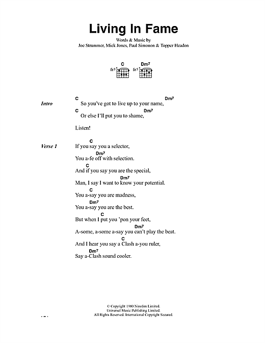 The Clash Living In Fame sheet music notes and chords. Download Printable PDF.